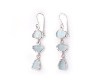 Very Pale Blue Three Drop Sea Glass Earrings in Silver metalwork earrings bezel set