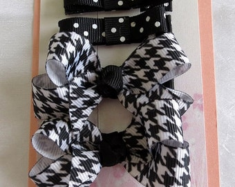 Boutique Hairbows Tuxedo Bows Hair Clippies Combination Set
