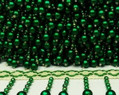 """Decorative Green Pearls Beaded Home Decor Fringes Trim Curtain Soft Furinshing 7.6"""" Wide Indian Craft Ribbon Supplies Trim By 1 Yard FRT447B"""