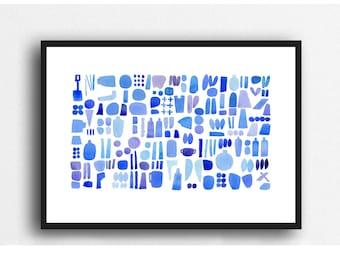 Cobalt blue watercolor Blue art print, blue watercolor painting, Beach combing nautical watercolor, abstract coastal painting