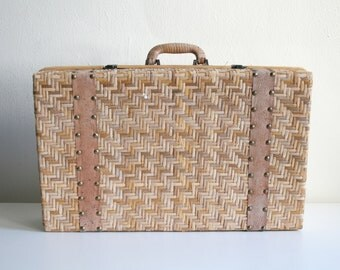 Woven Wood and Leather Box