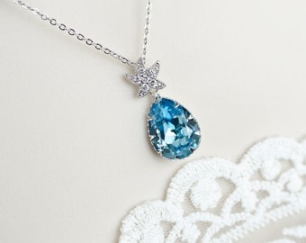 Starfish Necklace,Bridal Necklace,Aquamarine Necklace,Bridesmaids Necklace,Swarovski Aquamarine Crystal and CZ Starfish Earrings Necklace