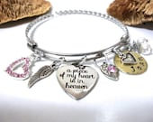 Memorial Bracelet, Memorial Jewelry, Loss of Loved One, A Piece of my Heart is in Heaven, Bereavement Jewelry, Infant Loss
