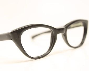 Very Small Black Cat Eyeglasses Unused cat eye glasses vintage cateye frames eyeglasses NOS