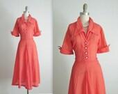 50's Salmon Dress // Vintage 1950's Sheer Sheer Nylon Garden Party Full Summer Day Dress