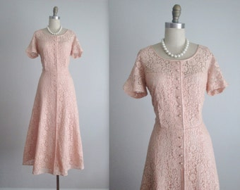 50's Lace Dress // Vintage 1950's Feminine Pink Lace Garden Party Tea Dress L