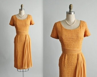 STOREWIDE SALE 50's Chiffon Dress // Vintage 1950's Apricot Chiffon Fitted Cocktail Party Dress S
