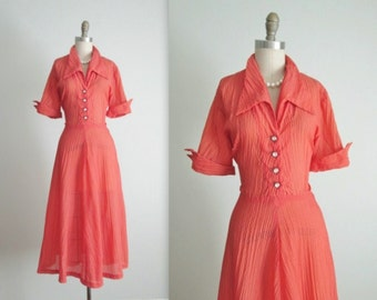 50's Salmon Dress // Vintage 1950's Sheer Sheer Nylon Garden Party Full Summer Day Dress