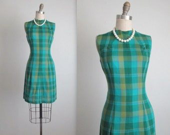 60's Fitted Dress // Vintage 1960's Blue Green Check Fitted Mad Men Dress S