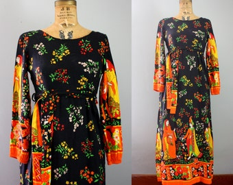 1970s maxi dress / 70s maxi dress / novelty pring dress / medieval dress