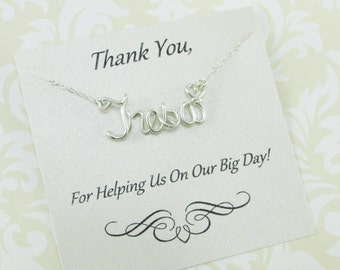 Bridesmaid Name Necklace, 14K Gold Filled Sterling Filled, Bridesmaid Gift, Thank You for Being my Bridesmaid Gift, Wedding Jewelry Gifts