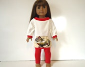 18 inch Doll off the shoulder long shirt Kitten Beach eggshell red leggings outfit set