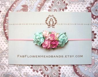 Floral Headband - Garden Party Headband - Newborn Headband - Baby Headband - Aqua and Pink Flower Headband - Skinny Elastic - Flower Crown
