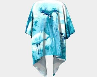 Draped Kimono - Jellyfish Watercolour Painting - Designer Clothing