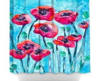 Shower Curtain Poppies Floral Painting   Artistic Bathroom   Colorful  Modern Peaceful Bathroom Decor