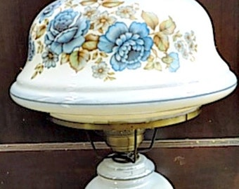 Vintage Table Lamp -  GWTW Style - Blue Floral - Cottage Chic - Lusterware