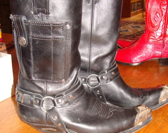Sendra Vintage Womans Cowboy Boots Supple Black Leather with side pocket steel toe clips and harness