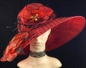 Coral Orange Kentucky Derby Hat Fascinator