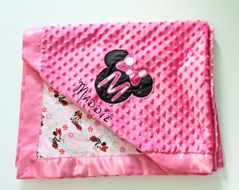 "Minnie Mouse Blanket Lovey Blanket 18""x18"", Infant Blanket 30""x36""; Toddler Blanket 36""x44""; Child Blanket 44""x44""; 60""x36""; 60""x44"""