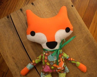 Fox plushie:handmade stuffed fox,fox softie,woodland nursery,baby shower gift,new baby gift,big sister or brother gift,kids room decor