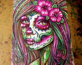 ORIGINAL Drawing Sharpie Pop Art Artwork 8x10 in. Revive 3 Day of the Dead Sugar Skull Girl Tattoo Art Illustration