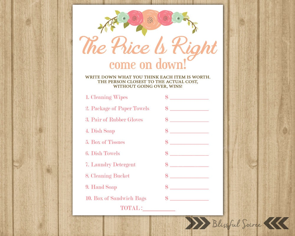 Price is right bridal shower game guess the price price is for Price is right bridal shower game template