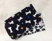 Male Dog Belly Band Diaper Pet Doggie Wrap Pants Stars  Bones On Black Custom Sizes To 30 Inches