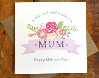 Flower Ribbon Mother's Day card FREE UK P&P Personalised Mothers Day Mum Mom Mummy Grandmother Grandma Granny Nanny