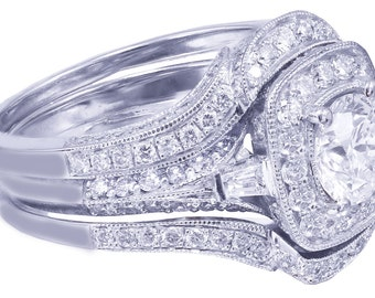 14k White Gold Round Cut Diamond Engagement Ring And Bands Halo Filigree 2.50ctw G-SI1 EGL USA