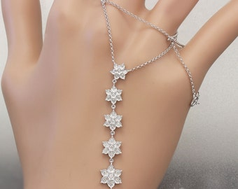 14k White Gold Round Cut Diamond Flower Style  Necklace 0.45ctw