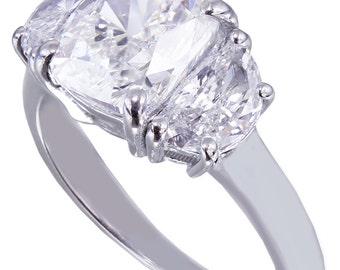 18k white gold cushion cut diamond engagement ring 2.80ct H-VS2 EGL USA cert