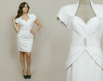 White Leather Dress 80s Sweetheart Cutout Back Body Con 1980s Glam Trophy Mini Dress Avant Garde / Size M Medium