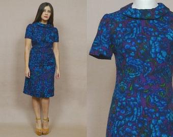 Sheath Dress 60s Floral Midi Indigo Blue Violet Knit Pencil Dress 1960s Mod Hourglass Shawl Collar Shift Wiggle Bombshell / Size M Medium