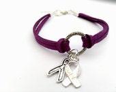 Purple Charity Awareness Bracelet, Lupus, Fibro, Invisible Illnesses