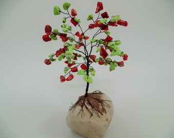 Wire tree sculpture,gemstone  tree,tree of life,bonsai tree,feng shui,coral and green turquize tree