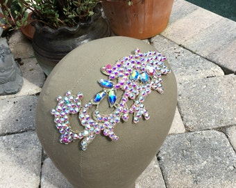 Swarovski Crystal AB Scroll Hairpiece with large Swarovski Crystals