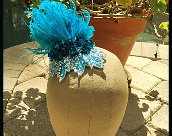 Swarovski Crystal AB Turquoise Ostritch Feather Hairpiece Haircomb