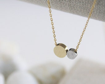 Two Circles Necklace in Silver and Gold. Simple Necklace. Collarbone Necklace. Layering Necklace. Timeless. Gift For Her. (PNL- 183)