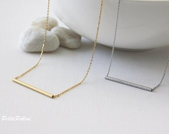 Tube Necklace in Matte Gold/Silver. Minimalist. Simple and Chic. Collarbone Necklace. Timeless. Gift For Her (PNL- 112)
