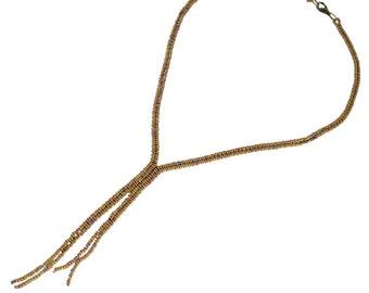 Y Shaped Necklace - Tan- Y Necklace - 20 Inches