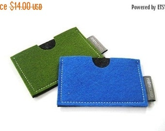 Christmas in July Sale Card case in pure wool felt, business card holder, credit card case, men's accessories, green, blue, charcoal wool fe