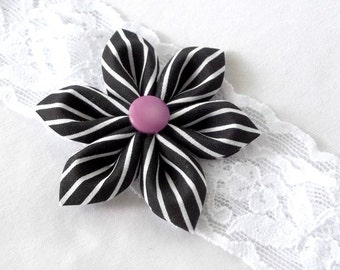 White Lace Headband with Black and White Striped Kanzashi Flower Purple