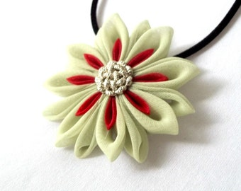 Green and Red Flower Pendant Folded Fabric Fiber Art Jewelry