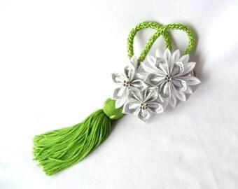 Silver White and Lime Kanzashi Flower Bridal Headpiece with Tassel Fabric Origami Geisha Inspired Wedding