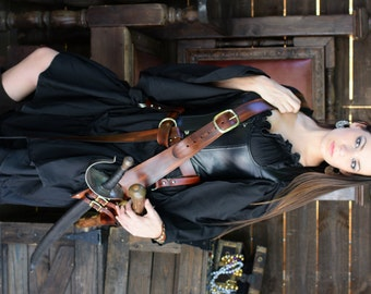 2 Inch Buckled Leather Pirate Pistol and Sword Baldric