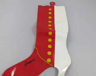 Weird Vintage Vinyl Go Go Boot Stocking Red and White Victorian Vinyl Stocking Hanging Boot