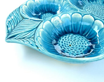 Vintage California Pottery Sunflower Dish, Aqua Blue, Signed No 6438, 1960s 1970s, Retro Made in Calif, Snacks Serving
