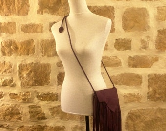 purple plum leather handbag shoulder purse with fringe by Tuscada. Ready to ship.