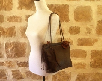 chocolate brown leather, handbag tote with braided strap, flowers and fringe by Tuscada. Ready to ship.