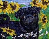 Pug painting art dog sunflowers whimsical ORIGINAL pug Dog art animal pet portrait pugs